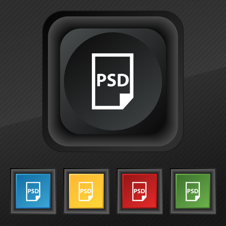 psd: PSD Icon symbol. Set of five colorful, stylish buttons on black texture for your design. Vector illustration