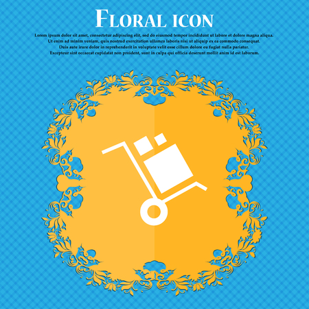 loader Icon icon. Floral flat design on a blue abstract background with place for your text. Vector illustration
