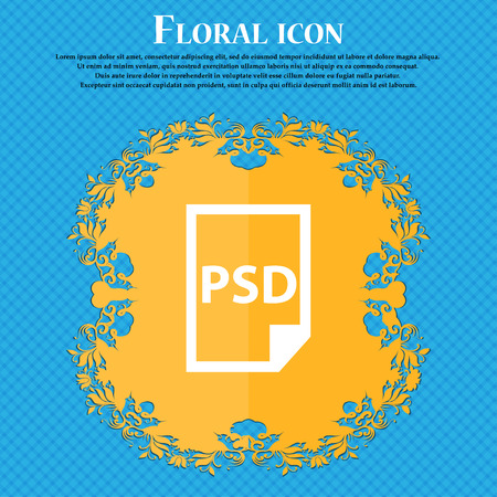 psd: PSD Icon icon. Floral flat design on a blue abstract background with place for your text. Vector illustration