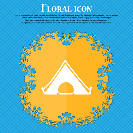 The tent icon icon. Floral flat design on a blue abstract background with place for your text. Vector illustration Illustration