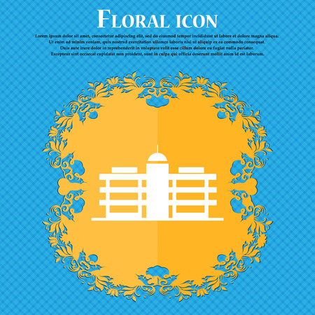 Business center icon icon. Floral flat design on a blue abstract background with place for your text. Vector illustration
