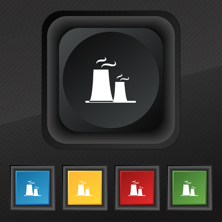 atomic power station icon symbol. Set of five colorful, stylish buttons on black texture for your design. Vector illustration