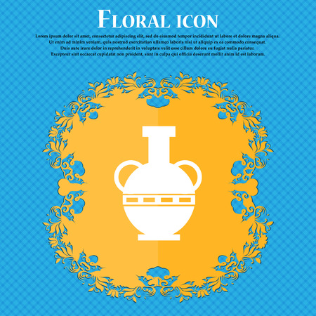 decorative urn: Amphora icon icon. Floral flat design on a blue abstract background with place for your text. Vector illustration