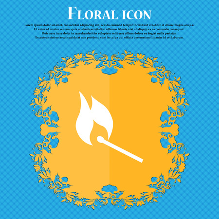 smoke alarm: burning match icon icon. Floral flat design on a blue abstract background with place for your text. Vector illustration