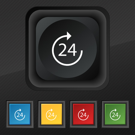 renewal: TIME 24 Icon symbol. Set of five colorful, stylish buttons on black texture for your design. Vector illustration Illustration