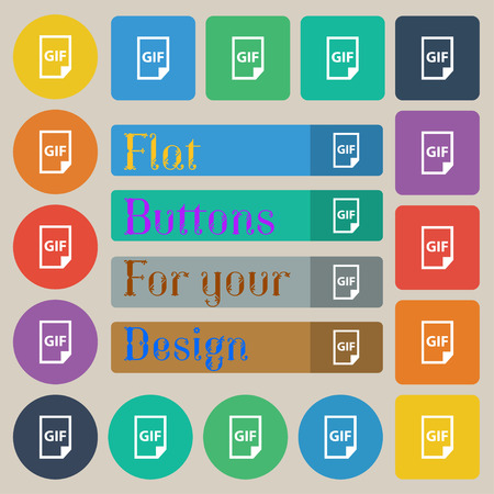 gif: File GIF icon sign. Set of twenty colored flat, round, square and rectangular buttons. Vector illustration Illustration