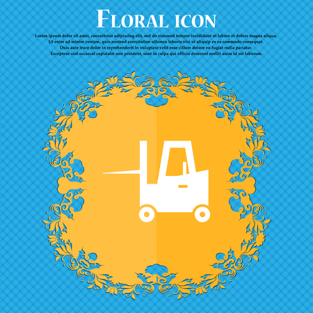 shipper: Forklift icon icon. Floral flat design on a blue abstract background with place for your text. Vector illustration