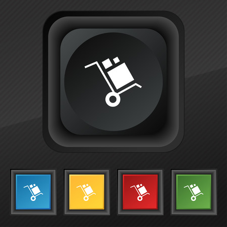 loader Icon symbol. Set of five colorful, stylish buttons on black texture for your design. Vector illustration Çizim