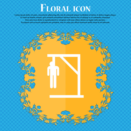 Suicide concept icon icon. Floral flat design on a blue abstract background with place for your text. Vector illustration Illustration