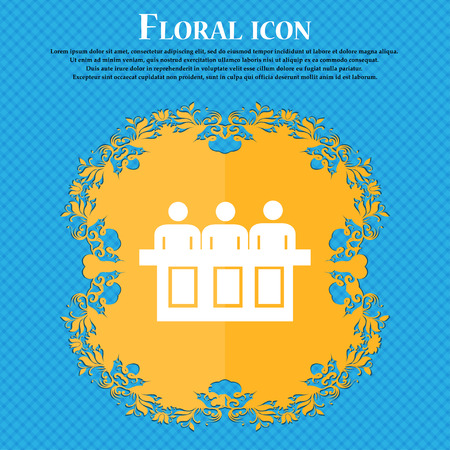 Conference icon icon. Floral flat design on a blue abstract background with place for your text. Vector illustration