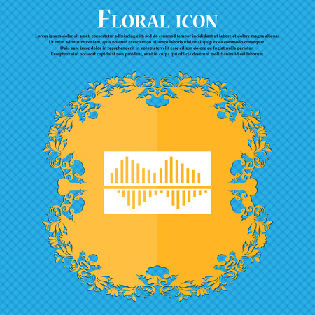 wave equality: Equalizer icon icon. Floral flat design on a blue abstract background with place for your text. Vector illustration