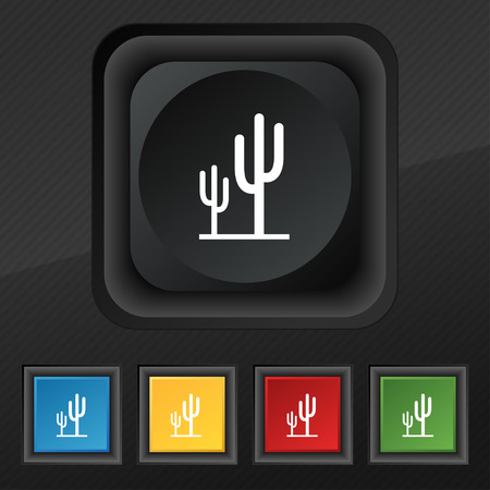 vegetal: Cactus icon symbol. Set of five colorful, stylish buttons on black texture for your design. Vector illustration