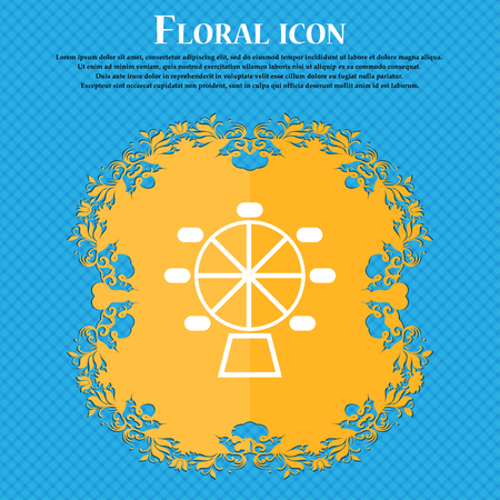 Ferris wheel icon icon. Floral flat design on a blue abstract background with place for your text. Vector illustration