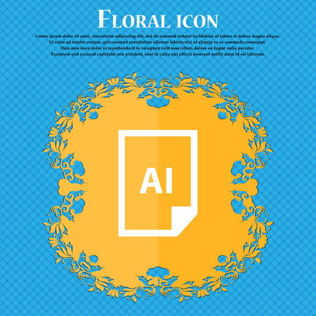 file AI icon icon. Floral flat design on a blue abstract background with place for your text. Vector illustration