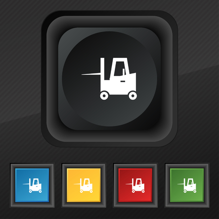 shipper: Forklift icon symbol. Set of five colorful, stylish buttons on black texture for your design. Vector illustration