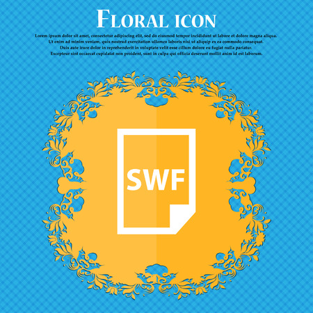 SWF File icon icon. Floral flat design on a blue abstract background with place for your text. Vector illustration