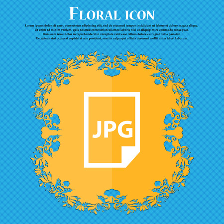 Jpg file icon icon. Floral flat design on a blue abstract background with place for your text. Vector illustration Illustration