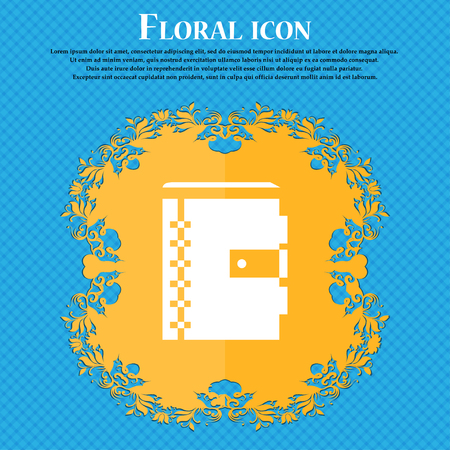 notebook icon icon. Floral flat design on a blue abstract background with place for your text. Vector illustration