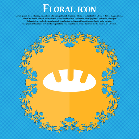 Bread icon icon. Floral flat design on a blue abstract background with place for your text. Vector illustration