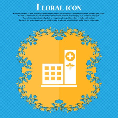 Hospital icon icon. Floral flat design on a blue abstract background with place for your text. Vector illustration