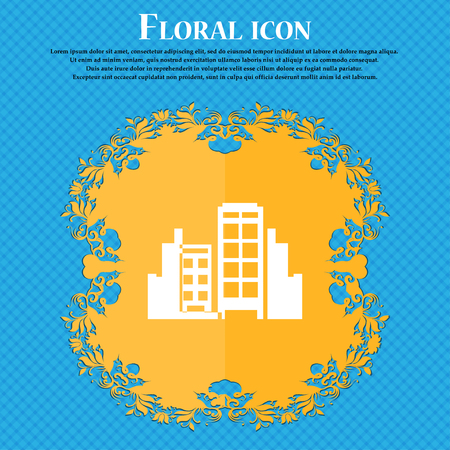 Buildings icon icon. Floral flat design on a blue abstract background with place for your text. Vector illustration