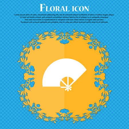 Fan icon icon. Floral flat design on a blue abstract background with place for your text. Vector illustration