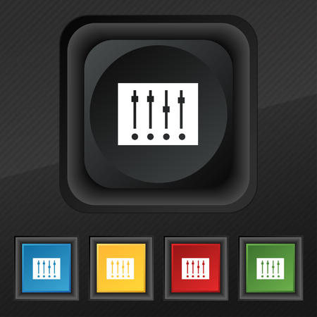 parameters: Equalizer icon symbol. Set of five colorful, stylish buttons on black texture for your design. Vector illustration Illustration