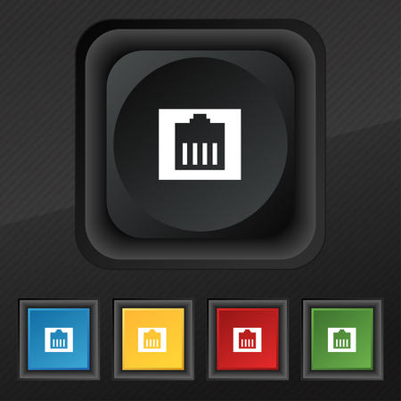 cat5: Internet cable, RJ-45 icon symbol. Set of five colorful, stylish buttons on black texture for your design. Vector illustration Illustration