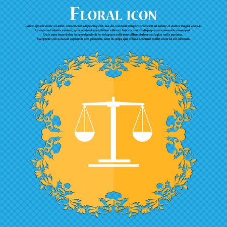 acquit: scales Icon icon. Floral flat design on a blue abstract background with place for your text. Vector illustration