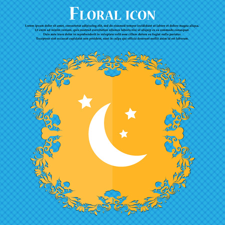 meteorite: moon icon icon. Floral flat design on a blue abstract background with place for your text. Vector illustration