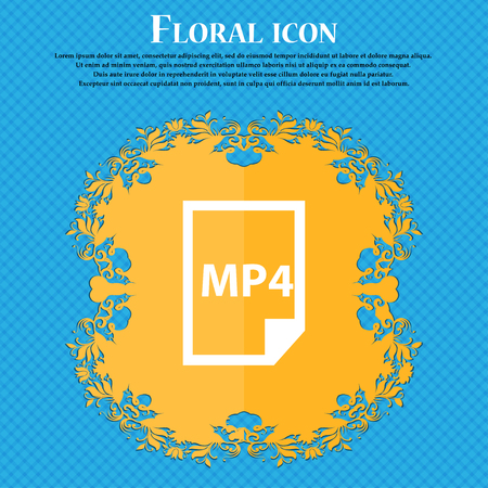 MP4 Icon icon. Floral flat design on a blue abstract background with place for your text. Vector illustration Illustration