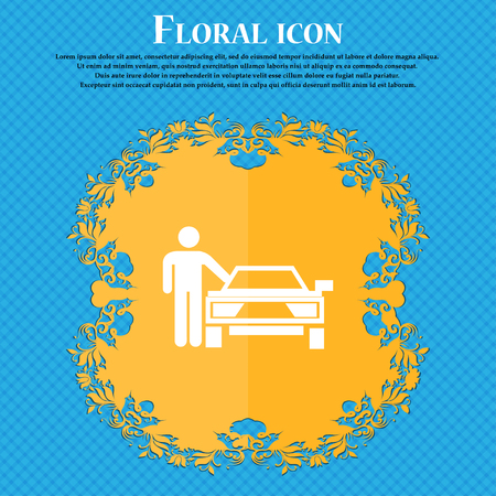 person up hailing a taxi icon icon. Floral flat design on a blue abstract background with place for your text. Vector illustration Illustration