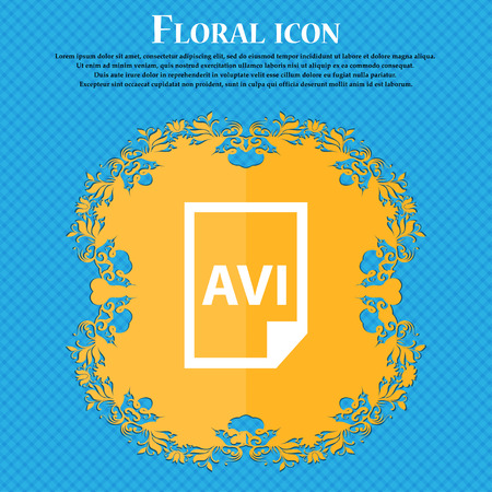 AVI Icon icon. Floral flat design on a blue abstract background with place for your text. Vector illustration