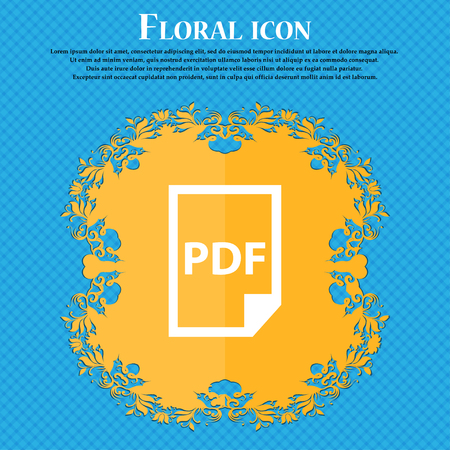 PDF Icon. icon. Floral flat design on a blue abstract background with place for your text. Vector illustration