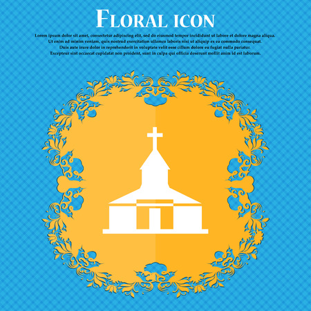 Church Icon icon. Floral flat design on a blue abstract background with place for your text. Vector illustration