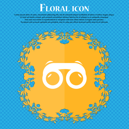 voyeur: binoculars icon icon. Floral flat design on a blue abstract background with place for your text. Vector illustration