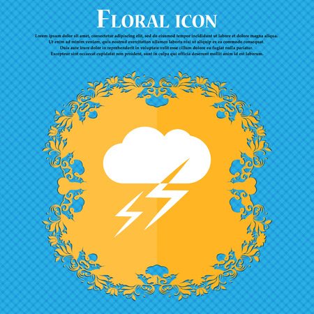 lightening: Weather icon icon. Floral flat design on a blue abstract background with place for your text. Vector illustration Illustration