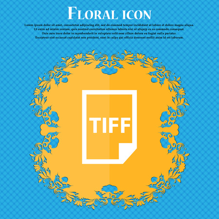 tiff: TIFF Icon. icon. Floral flat design on a blue abstract background with place for your text. Vector illustration