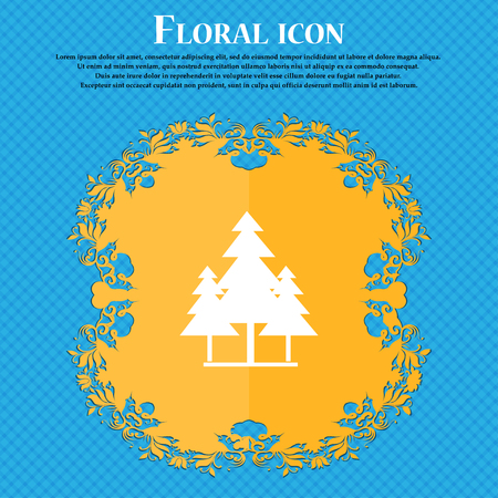 christmas tree icon icon. Floral flat design on a blue abstract background with place for your text. Vector illustration