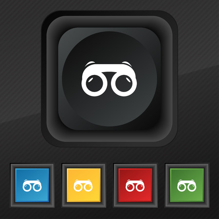 voyeur: binoculars icon symbol. Set of five colorful, stylish buttons on black texture for your design. Vector illustration
