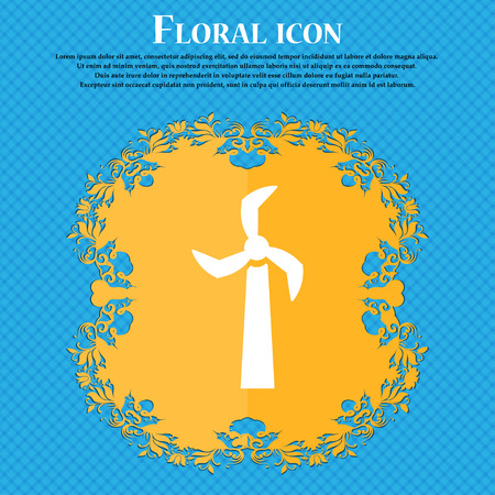 Windmill icon icon. Floral flat design on a blue abstract background with place for your text. Vector illustration Illustration