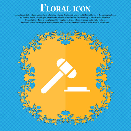 judge or auction hammer icon icon. Floral flat design on a blue abstract background with place for your text. Vector illustration Illustration
