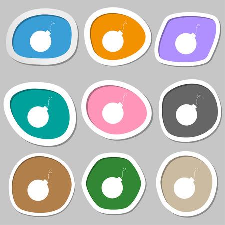 detonate: bomb icon symbols. Multicolored paper stickers. Vector illustration Illustration