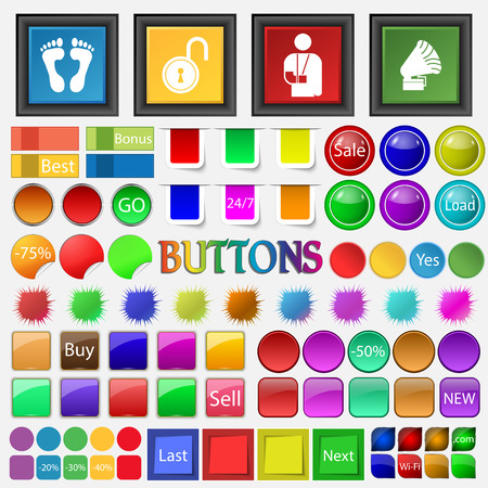 big foot: foot , castle, injury , invalid, gramophone icon. Big set buttons for your site. Vector illustration