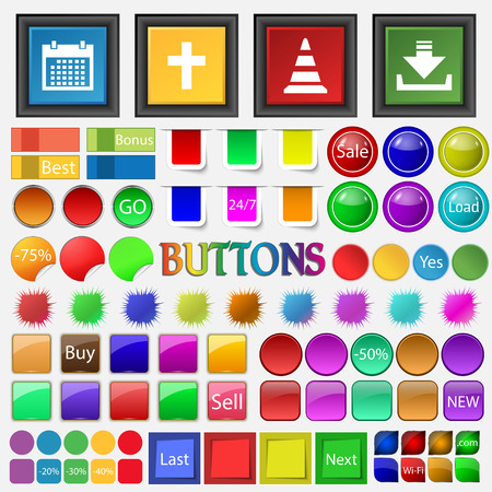 cross road: calendar , cross, road cone , loading , icon. Big set buttons for your site. Vector illustration