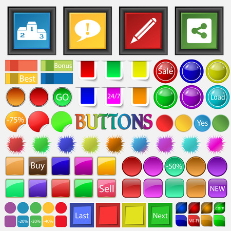 mark pen: winner, exclamation mark , pen, icon. Big set buttons for your site. Vector illustration Illustration