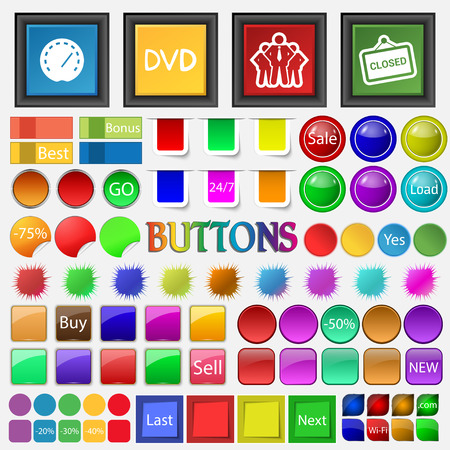 speedometer , DVD, a group of people , openly icon. Big set buttons for your site. Vector illustration