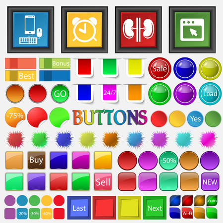 telephone box: telephone, alarm clock , kidneys , software box icon. Big set buttons for your site. Vector illustration