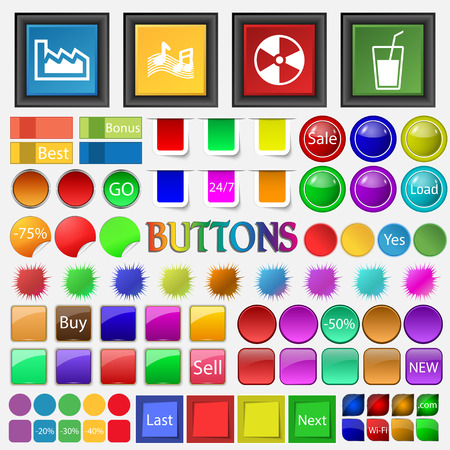 Graphics, ringtones , music , contamination , glass of milk , drink icon. Big set buttons for your site. Vector illustration