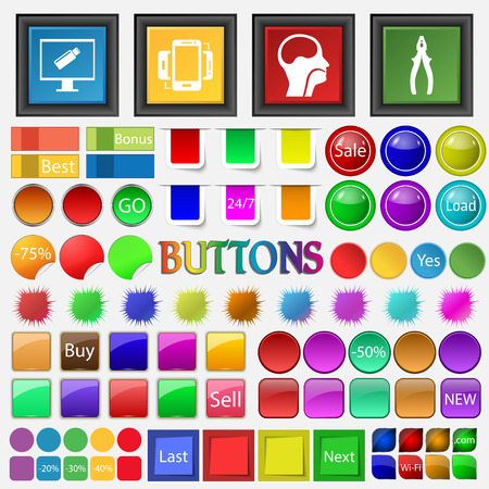 flash drive: flash drive , synchronization , brain, trachea, person , pliers icon. Big set buttons for your site. Vector illustration